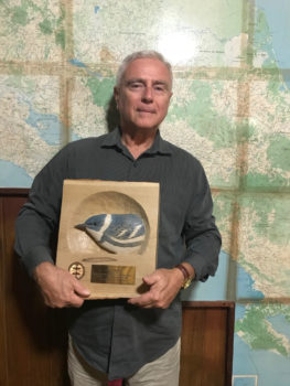 Erick Berlin receiving his 2017 PIF Stewardship Award, delivered in person by Ken Rosenberg, at the Las Brisas Nature Reserve in Costa Rica