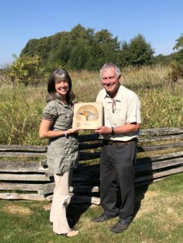 Robert Elner accepted the 2017 PIF Leadership Award at the 27th International Ornithological Congress in Vancouver, BC. Also pictured is Wendy Easton, Canadian Wildlife Service.